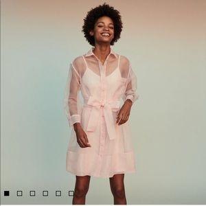 Maje revani organza shirt dress, pink, size 3. NWT